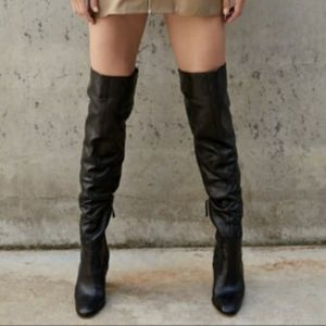 Zara Over the Knee Leather Boots NWT